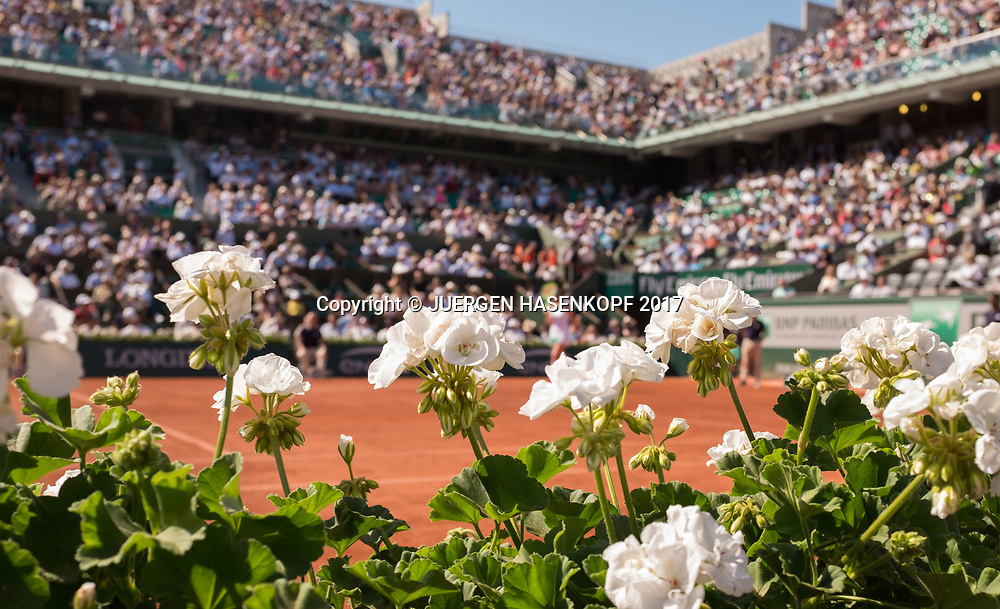 French Open 2017 Feature, Blumen am Spielfeldrand von Court Philippe Chatrier <br /> <br /> Tennis - French Open 2017 - Grand Slam / ATP / WTA / ITF -  Roland Garros - Paris -  - France  - 8 June 2017.