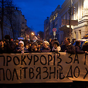 KIEV, UKRAINE - February 24, 2014: People await outside the Ukrainian Parliament building, for the announcement of the formation of the unity government. CREDIT: Paulo Nunes dos Santos