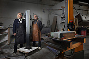 Portrait of the glass sculptors Perrin & Perrin, Martine Perrin, b. 1949 and Jacki Perrin, b. 1943, standing with a sculpture in their workshop in Vitry sur Seine, Paris, France, photographed on 20th February 2018. The artists have been working together since 1967 and in 2001 developed the 'Build in Glass' technique, enabling them to sculpt and chisel the glass. Picture by Manuel Cohen