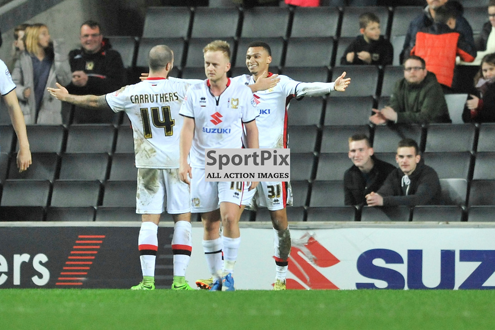 MK Dons Josh Murphy Celebrates after scoring Dons Second Goal,  MK Dons v Cardiff, Sky Bet Championship, Saturday 26th December 2016