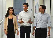 © Licensed to London News Pictures. 24/01/2013. London, UK Leader of the Labour Party, Ed Miliband, (centre) Shadow Health Secretary Andy Burnham (right) and Shadow Health Minister  Liz Kendal (L) visit the Macmillan Cancer Centre at University College Hospital in Central London today, 24 January 2013. Today the Labour Party launched its Whole Person Care policy review. Photo credit : Stephen Simpson/LNP