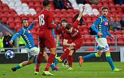 ST HELENS, ENGLAND - Monday, December 10, 2018: Liverpool's substitute Bobby Duncan scores the fifth goal during the UEFA Youth League Group C match between Liverpool FC and SSC Napoli at Langtree Park. (Pic by David Rawcliffe/Propaganda)