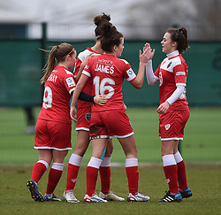 Bristol Academy's Angharad James celebrates with team-mates - Photo mandatory by-line: Paul Knight/JMP - Mobile: 07966 386802 - 01/03/2015 - SPORT - Football - Bristol - Stoke Gifford Stadium - Bristol Academy Women v Aston Villa Ladies - Pre-season friendly