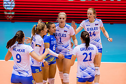23-08-2017 NED: World Qualifications Greece - Slovenia, Rotterdam<br /> Sloveni&euml; wint met 3-0 / Eva Mori #1 of Slovenia, Lana Scuka #14 of Slovenia, Maja Pahor #6 of Slovenia
