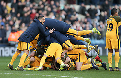 Brighton players celebrate winning on penalties - Mandatory by-line: Arron Gent/JMP - 17/03/2019 - FOOTBALL - The Den - London, England - Millwall v Brighton and Hove Albion - Emirates FA Cup Quarter Final