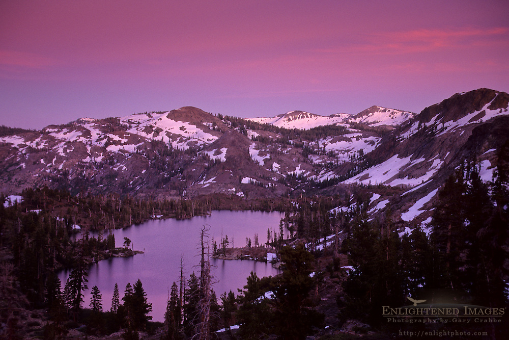 Evening light over Susie Lake, Desolation Wilderness, Tahoe Sierra Nevada mountains, California