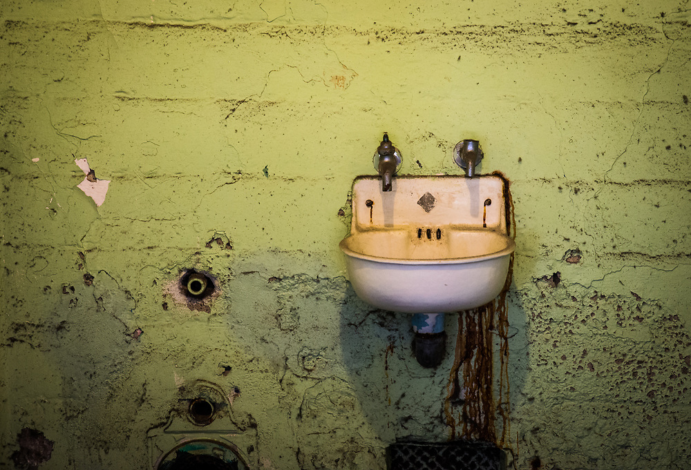 A picture of an old Alcatraz prison cell sink.<br />