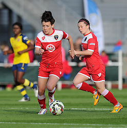 Bristol Academy's Angharad James in action during the FA Women's Super League match between Bristol Academy Women and Arsenal Ladies FC at Stoke Gifford Stadium on 9 May 2015 in Bristol, England - Photo mandatory by-line: Paul Knight/JMP - Mobile: 07966 386802 - 09/05/2015 - SPORT - Football - Bristol - Stoke Gifford Stadium - Bristol Academy Women v Arsenal Ladies FC - FA Women's Super League