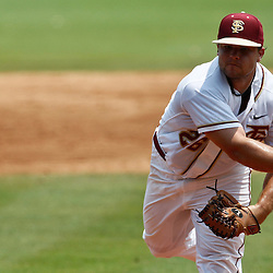 June 06, 2011; Tallahassee, FL, USA; Florida State Seminoles pitcher Scott Sitz (26) throws against the Alabama Crimson Tide during the eighth inning of the Tallahassee regional of the 2011 NCAA baseball tournament as play resumed following the suspension of play due to severe weather last night at Dick Howser Stadium. Florida State defeated Alabama 11-1 to advance to a super regional.  Mandatory Credit: Derick E. Hingle