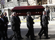 Feb. 7, 2014 - New York, New York, U.S. - <br /> <br /> A view of the casket for actor Philip Seymour Hoffman arriving to St. Ignatius Loyola Church on the Upper East Side. Hoffman died of a suspected heroin overdose on February 2. <br /> ©exclusivepix