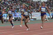 Jun 16, 2019; Rabat, Morocco; Blessing Okagbare  (NGR), right defeats Victoria Christina Rosa (BRA), Dafne Schippers (NED) and Marie-Josee Ta Lou (CIV) to win the 100m in 11.05 during the Meeting International Mohammed VI d'Athletisme de Rabat at Prince Moulay Abdellah Stadium.