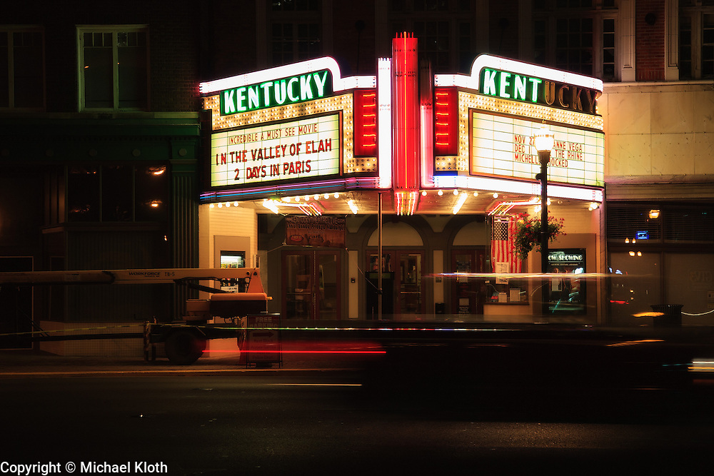 The Kentucky Theater.  This is a historic theater and we would go there to see indie movies.  They also had concerts.  While I like the direction of this image showing both sides of the marquee, it isn't a great photo because the street lamp interrupts the sign.  And of course the cherry picker in front of the building is less than ideal too.