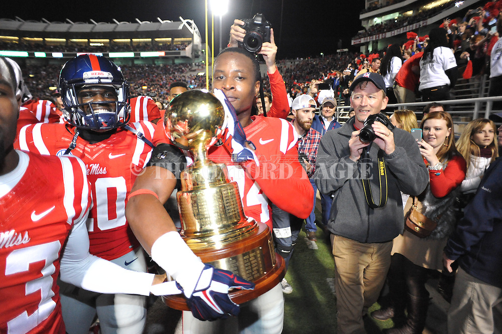 Ole Miss Rebels linebacker Keith Lewis (24) vs. Mississippi State at Vaught-Hemingway Stadium in Oxford, Miss. on Saturday, November 29, 2014. Ole Miss won 31-17.