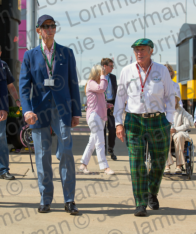 The 2018 Formula 1 F1 Rolex British grand prix, Silverstone, England. Friday 6th July 2018.<br /> <br /> Pictured: Prince Edward, Duke of Kent is shown around the paddock by Sir Jackie Stewart OBE at the British F1 Grand Prix, Silverstone.<br /> <br /> Jamie Lorriman<br /> mail@jamielorriman.co.uk<br /> www.jamielorriman.co.uk<br /> 07718 900288