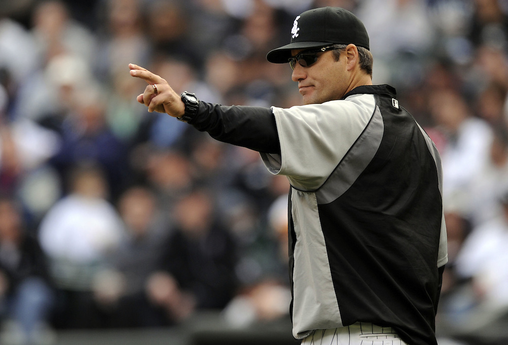 CHICAGO - APRIL 13:  Manager Robin Ventura #23 of the Chicago White Sox makes a pitching change against the Detroit Tigers on April 13, 2011 at U.S. Cellular Field in Chicago, Illinois.  The White Sox defeated the Tigers 5-2.  (Photo by Ron Vesely/Chicago White Sox)  Subject:  Robin Ventura