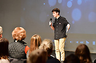 "Moderator Jared Peraglia, Harvey student class of 2018,  at The Harvey School and Katonah-Lewisboro SEPTA present ""Screenagers"",  a film and Forum  in The Walker Center for the Arts at the Harvey School on November 29, 2016. (photo by Gabe Palacio)"