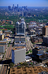 Stock photo of an aerial view of the Texas Medical Center and the Houston skyline