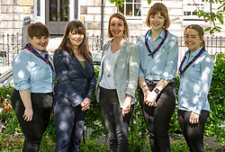 Pictured: Girl guide Katie Young, Clare Haughey, Julie Cameron, Herad of progreammes, Mental Health Foundation Scotland, <br />