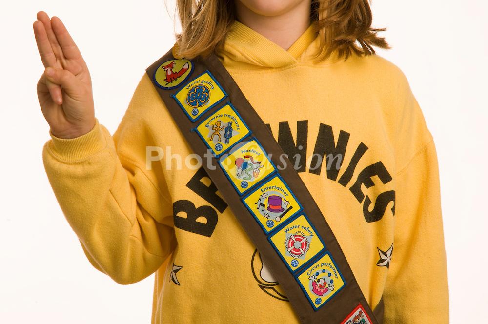 10 year old girl in Brownie uniform UK