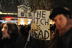 © Licensed to London News Pictures. 08/04/2013. London, UK Hundreds of people turn out on the evening of 7th April 2013 in Windrush Square, Brixton for a party to celebrate the death of former Prime Minister Margaret Thatcher. Photo credit : Guilhem Baker/LNP