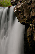 This is a close up of the upper part of the waterfall that is Kilgore Falls in Rocks State Park in Maryland.