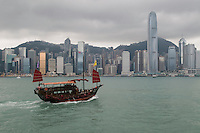 Chinese junk in Victoria harbour, Hong Kong.