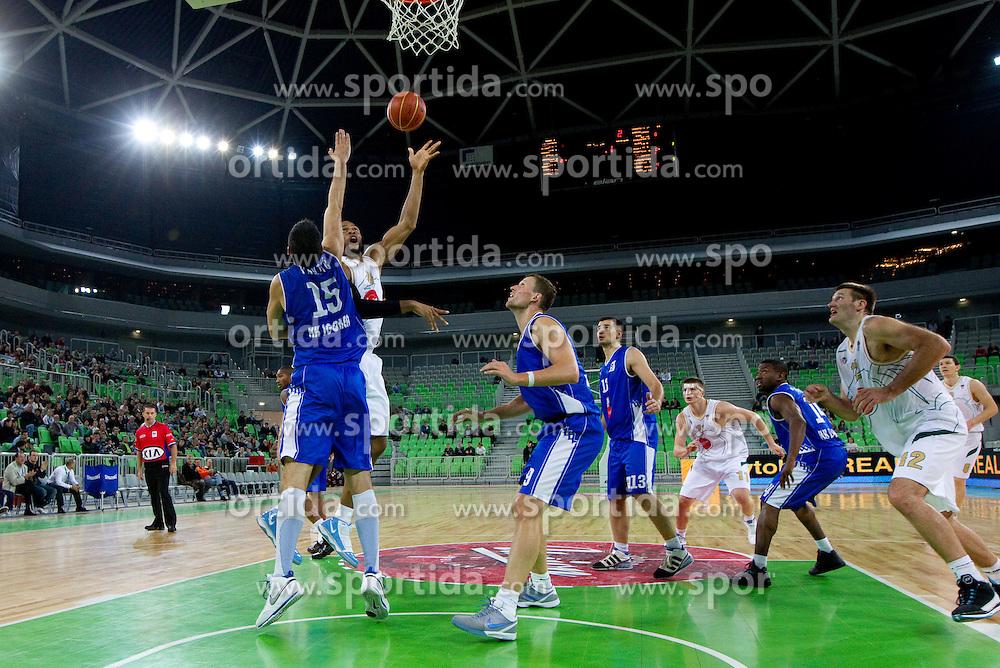 Aloysius Anagonye of Olimpija during basketball match between KK Union Olimpija and Igokea in First round of NLB league in Arena Stozice on October 9, 2010 in SRC Stozice, Ljubljana, Slovenia. Union Olimpija defeated Igokea 61-54. (Photo by Vid Ponikvar / Sportida)