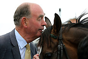 Trainer HENRY CANDY whispers THANK YOU to LIMATO after winning The Listed Ryedale House Ganton Stakes over 6f (£50,000) during the Newby and the Press Family Raceday at York Racecourse, York, United Kingdom on 9 September 2018. Picture by Mick Atkins.