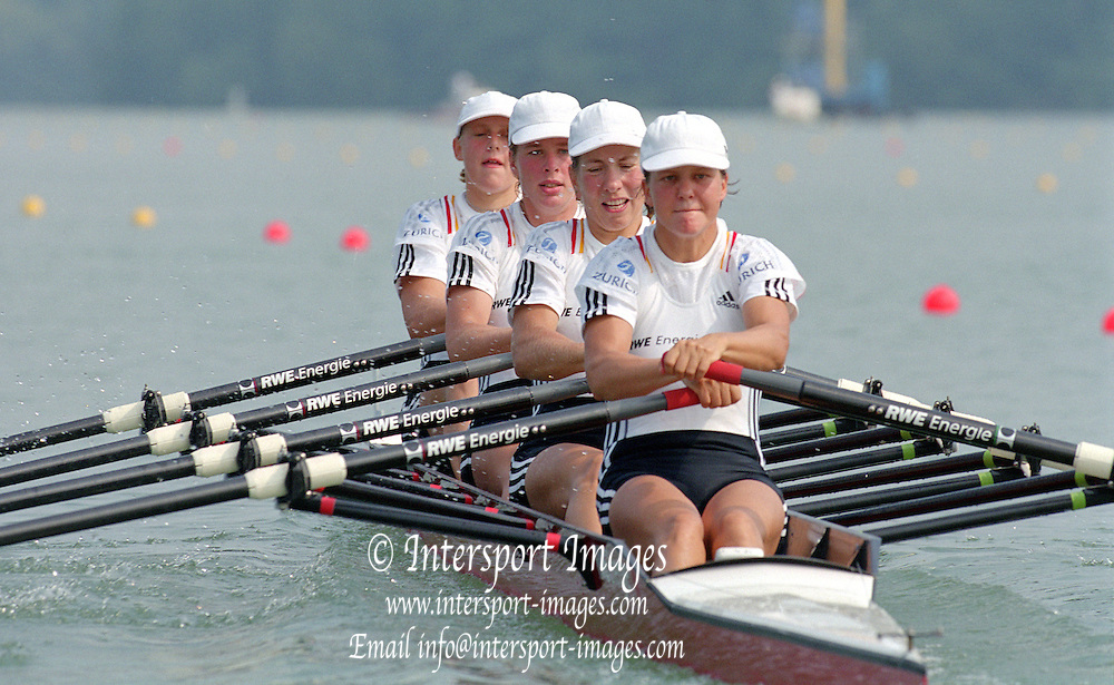 St Catherines, CANADA,  Women's Quadruple Sculls GER W4X, Kerstin EL QALQILI - KOWALSKI, Manuela LUTZE, Meike EVER and  Maren DERLIEN, competing at the 1999 World Rowing Championships - Martindale Pond, Ontario. 08.1999..[Mandatory Credit; Peter Spurrier/Intersport-images]  . 1999 FISA. World Rowing Championships, St Catherines, CANADA
