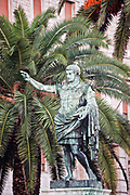 The Statue of Julius Caesar Augustus near the waterfront in Naples, southern Italy.