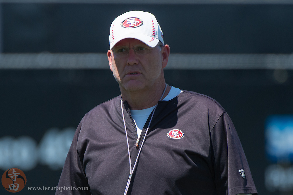 July 24, 2014; Santa Clara, CA, USA; San Francisco 49ers special teams coordinator/assistant head coach Brad Seely during training camp at the SAP Performance Facility.