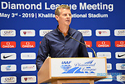 Steve Cram (GBR) speaks during a news conference at the Intercontinental Doha Hotel-The City, Thursday, May 2, 2019, in Doha, Qatar prior to the 2019 IAAF Diamond League Doha meeting. (Jiro Mochizuki/Image of Sport)