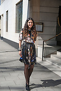 NOOR FARES, Leaving The Seventh Annual Foreign Sisters Lunch in aid of Cancer Research UK. . The Dorchester 53 Park Lane. London. 1 May 2013.