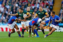 South Africa Winger Bryan Habana is tackled - Mandatory byline: Rogan Thomson/JMP - 07966 386802 - 26/09/2015 - RUGBY UNION - Villa Park - Birmingham, England - South Africa v Samoa - Rugby World Cup 2015 Pool B.