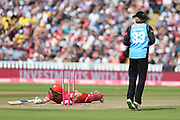 Lancashires Dane Vilas run out  during the Vitality T20 Finals Day semi final 2018 match between Worcestershire Rapids and Lancashire Lightning at Edgbaston, Birmingham, United Kingdom on 15 September 2018.