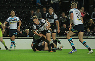 Jack Logan of Hull Football Club runs in to scores his first try of the game during the First Utility Super League match at KC Stadium, Hull<br /> Picture by Richard Gould/Focus Images Ltd +44 7855 403186<br /> 12/09/2014
