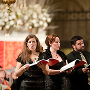 January 2, 2011 - Manhattan, NY : Musicians from the Green Mountain Project took part in a celebration of the 401st anniversary of Claudio Monteverdi's Vespers of 1610 at the Church of St. Mary the Virgin in Midtown Manhattan on Sunday night.          Soprano and artistic director Jolle Greenleaf, left, performs with fellow soprano Molly Quinn, center, and tenor James McStoots.  //Assignment ID: 10105591A // Credit: Karsten Moran for the New York Times //