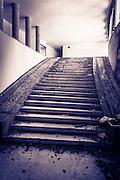 Staircase at Villa Izvor (ruins of Yugoslavia president Tito's palatial hideaway), Plitvice Lakes National Park, Croatia