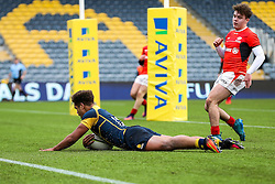 Ollie Lawrence (Bromsgrove School) of Worcester Warriors U18 celebrates scores a try - Rogan Thomson/JMP - 16/02/2017 - RUGBY UNION - Sixways Stadium - Worcester, England - Worcester Warriors U18 v Saracens U18 - Premiership Rugby Under 18 Academy Finals Day 5th Place Play-Off.