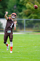 KELOWNA, BC - SEPTEMBER 8:  Quarterback Alex Douglas #1 of Okanagan Sun warms up against the Langley Rams  at the Apple Bowl on September 8, 2019 in Kelowna, Canada. (Photo by Marissa Baecker/Shoot the Breeze)