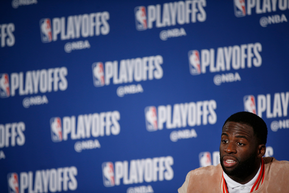 Golden State Warriors forward Draymond Green (23) during a news conference following Game 2 of the NBA Western Conference semifinals between the Golden State Warriors and New Orleans Pelicans at Oracle Arena, Tuesday, May 1, 2018, in Oakland, Calif. The Warriors won 121-116.