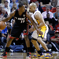 10 March 2011: Los Angeles Lakers point guard Derek Fisher (2) defends on Miami Heat point guard Mario Chalmers (15) during the Miami Heat 94-88 victory over the Los Angeles Lakers at the AmericanAirlines Arena, Miami, Florida, USA.