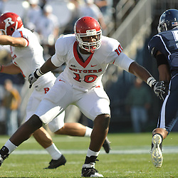 Oct 31, 2009; East Hartford, CT, USA; Rutgers tight end D.C. Jefferson (10) blocks an extra point kick during first half Big East NCAA football action between Rutgers and Connecticut at Rentschler Field.