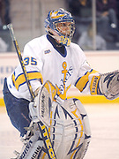 LSSU goaltender Brian Mahoney-Wilson watches the action head towards him Friday night at Taffy Abel Arena.