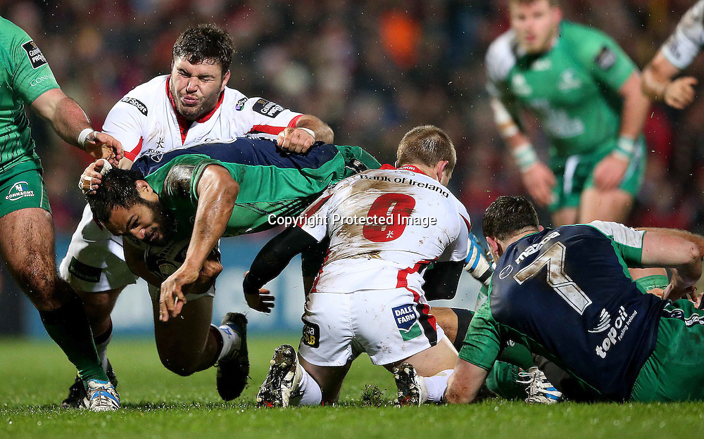 Guinness PRO12, Kingspan Stadium, Belfast 26/12/2014<br /> Ulster vs Connacht<br /> Connacht's George Naoupu tackled by Wiahahn Herbst and Paul Marshall of Ulster<br /> Mandatory Credit &copy;INPHO/James Crombie