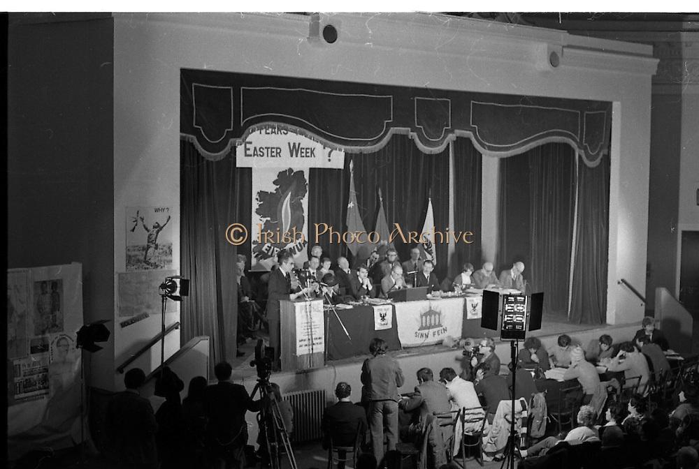 Sinn Fein Ard Fheis.      K63..1976..17.10.1976..10.17.1976..17th October 1976..The Sinn Fein (Kevin Street) Ard Fheis was held over the weekent of the 16th / 17th October at the Mansion House, Dawson Street, Dublin. Mr Ruairi O Bradaigh, President of Provisional Sinn Fein, gave the keynote speech..Image of Ruairi O'Bradaigh, President, Provisional Sinn Fein, delivering his keynote speech from the stage of the Mansion House,flanked by the leading officials of the party.