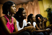 Matilda Mikekpor (left), 23, and Nana Yaa Adadewa Addo (second left), 24, wait in line with other models during a rehearsal where models come to practice their catwalk in Ghana's capital Accra on Thursday May 21, 2009. Nana Yaa and Matilda both auditioned for the upcoming television show West Africa's Next Top Model, the latest incarnation of Tyra Banks' America's Next Top Model.