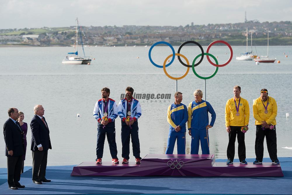 2012 Olympic Games London / Weymouth<br /> Medal Ceremony Star<br /> Percy Iain, Simpson Andrew, (GBR, Star)<br /> Loof Fredrik, Salminen Max, (SWE, Star)<br /> Scheidt Robert, Prada Bruno, (BRA, Star)
