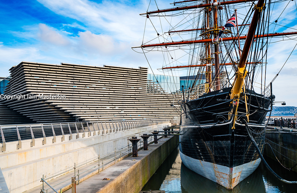 View of newly completed V&A Museum of Design and RSS Discovery ship in Dundee, Tayside, Scotland.