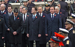 (c) London News Pictures. 14/11/2010. The Queen leds the Remembrance Sunday service at the Cenotaph in London in honour of those who have died in wars and conflicts..Pictured - Chancellor of the Exchequer George Osbourne, Ed Miliband, Former Prime Minister Gordon Brown, Deputy Prime Minister Nick Clegg, Former Prime Minister Tony Blair, Prime Minister David Cameron  and Former Prime Minister John Mayor during the Remembrance Sunday Service